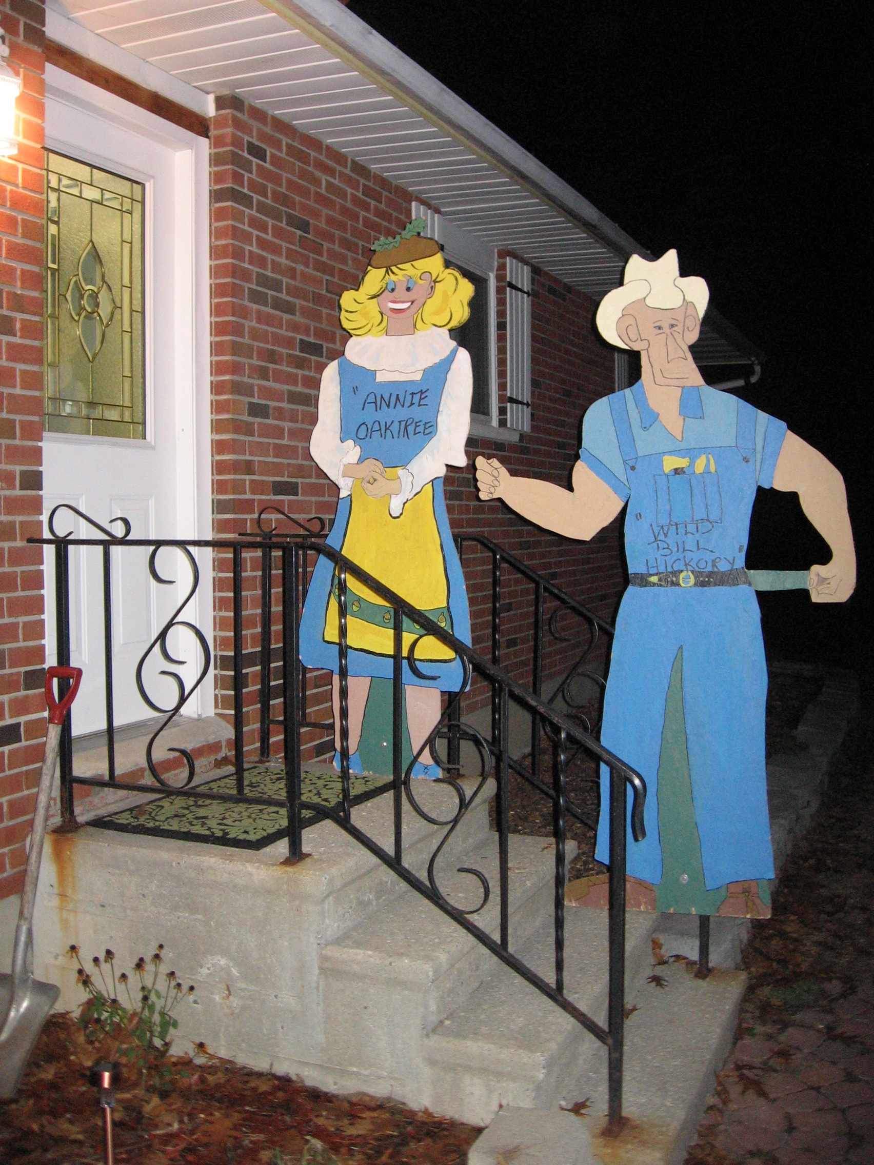 Annie and Bill at the door on Halloween